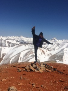 Andrea in her standard 14er/pinnacle pose on Redcloud.