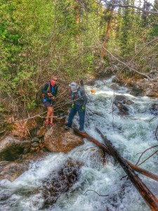 wes and andrew on the last creek crossing coming down elbert at 10800ft