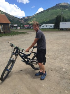 The downhill bike.  Getting ready at the Silverton train station.